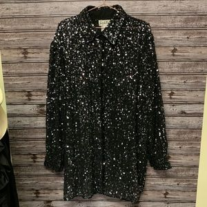 Judith Ann Creations Sequin Button Down Shirt